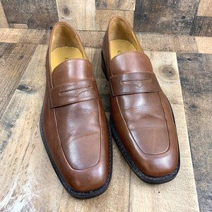 Cole Haan Brown Leather Apron Toe Slip On Loafer